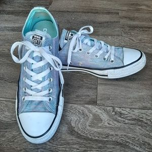 Baby Blue & Pink Shimmer Converse